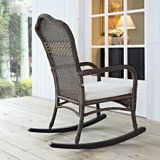 Wicker Outdoor Rocking Chairs Mocha Resin Wicker Indoor Outdoor Rocking Chair With Beige