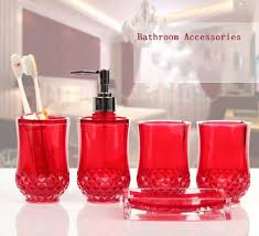 Acrylic Bathroom Accessories 5pc Set Acrylic Bathroom Accessories Bathroom Set Glamarous Red