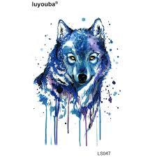 blue wolf waterproof temporary stickers harajuku