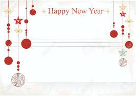 new year card happy new year card design with hanging christmas baubles in