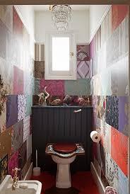 Small Bathroom Wallpaper Ideas Colors Unique Boho Powder Room Maybe Scrapbook Paper For Wall Paper