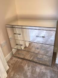 next bedroom furniture mirrored glass 2 x bedside drawers 1 x