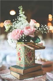 Vintage Flower Table Decorations Centros De Mesa Para Boda Ideas Románticas Con Libros Vintage