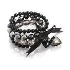 black pearl charm bracelet images Fashion women girls black pearl rhinestone bracelets multilayer jpg