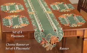 table runner or placemats green fall autumn harvest leaf table runner or placemats ebay