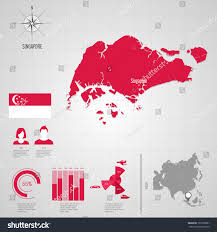 Singapore Map Asia by Republic Singapore Flag Asia World Map Stock Vector 193739801