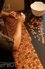 penny covered table or shelf needs epoxy also can makes tiles