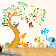 Nursery Wall Decorations Removable Stickers Large Animal Tree Nursery Wall Stickers For Rooms Removable