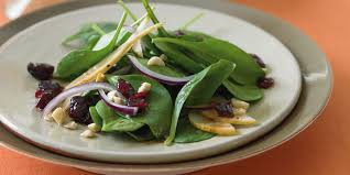 spinach salad with bosc pears cranberries and toasted
