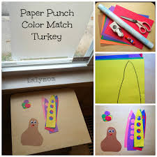 paper punch color match turkey a thanksgiving motor activity