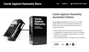 cards against humanity for sale 30 gets you the australian edition of cards against humanity