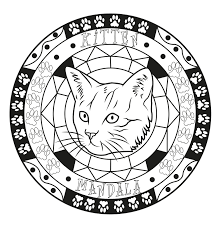 mandala cat by allan allan coloring pages for adults justcolor