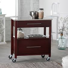 small kitchen island design with wheels outofhome dark brown polished portable kitchen island on wheels with double rack