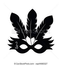 party mask black silhouette festival party mask with feathers vector