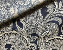 Batik Upholstery Fabric Blue Paisley No Visual Arts Dyeing U0026 Batik Etsy Studio