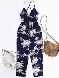 s one jumpsuit slip floral surplice jumpsuit with tie belt colormix jumpsuits