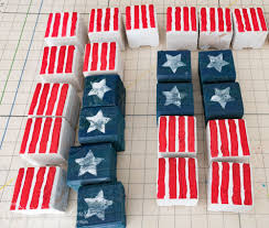 easy vintage americana usa flag painted wood blocks worthing court