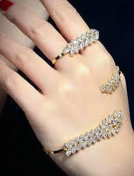 ring cuff bracelet images 2 piece diamond hand bracelet wedding jewelry set palm cuff jpg
