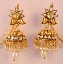 gold jhumka earrings buy earrings jhumka chandelier pearl gold plated with side