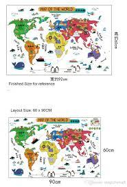 One Piece World Map Cartoon Map Of The World Wall Stickers Kids Room Nursery Wall Art