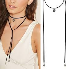 long chain choker necklace images Punk gothic style long black leather chain choker necklace boho jpg