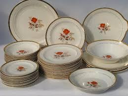 coral orange roses vintage china dishes retro lamode pottery
