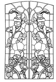 free coloring page coloring stained glass drawing art nouveau