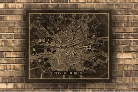 Old Map Dublin Large Wall Map 2 Finish Options Print Or