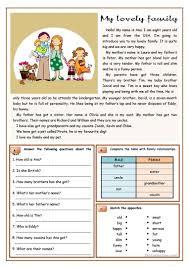 Comprehension Worksheets For Grade 8 My Lovely Family Worksheet Free Esl Printable Worksheets Made By