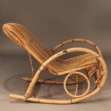 franco albini style mid century rattan rocking chair rattan