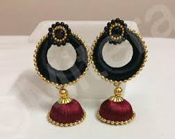thread earrings silk thread earrings etsy