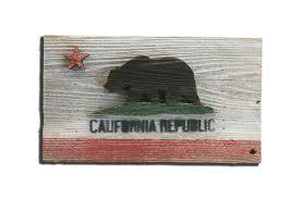 handmade reclaimed wooden california flag vintage