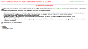 Sample Resume For Heavy Equipment Operator by Heavy Equipment Operator Work Experience Certificate