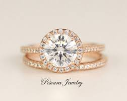 Promise Engagement And Wedding Ring Set by Rose Gold Engagement Ring Etsy