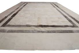 Leather Area Rugs White And Gray Leather Area Rug In Squares And Stripes Designed By