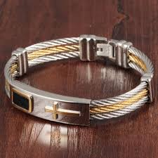cross bangle bracelet images Erluer men 39 s bracelet 3 rows wire chain bracelets bangles punk jpg
