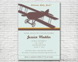 vintage airplane baby shower invitation printable or printed