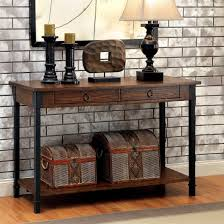 black metal entry table seth rustic 2 drawer wood sofa table with black metal accents