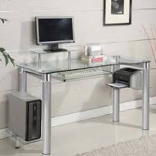 Glass Top Desk With Keyboard Tray Office Star Products Black Metal Glass Top Desk With Keyboard Tray