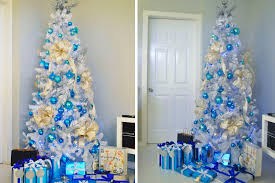 white tree with blue lights lights card and