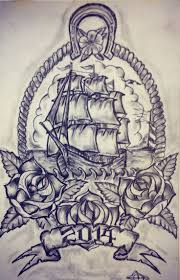 ship and roses tattoos sketch real photo pictures images and