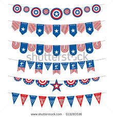 4th Of July Bunting Decorations Patriotic Bunting American Flags Garlands Usa Stock Illustration