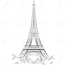 drawing eiffel tower in paris france vector illustration royalty
