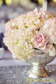 White Roses Centerpieces by White And Blush Hydrangea And Rose Centerpiece In Silver Bowl