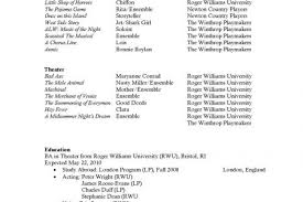 Musical Theater Resume Sample by Musical Theatre College Audition Resume Musical Theatre Audition