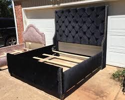 Velvet Bed Frame Tufted King Bed Wingback Upholstered Black Velvet