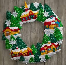 snow bucilla felt appliqué wreath kit felt kits