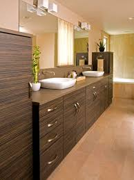 modern master bathroom with travertine tile floors by terry e
