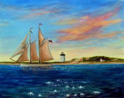 original acrylic painting sailboat cape cod lighthouse sea