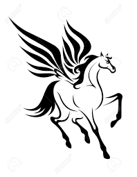 wonderful black tribal pegasus tattoo design jpg 1008 1300